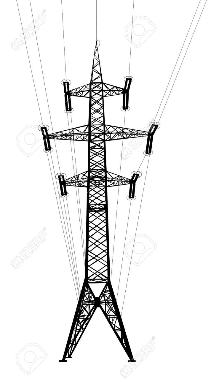 Power transmission tower with wires Isolated on white background Vector EPS10 - 23858537