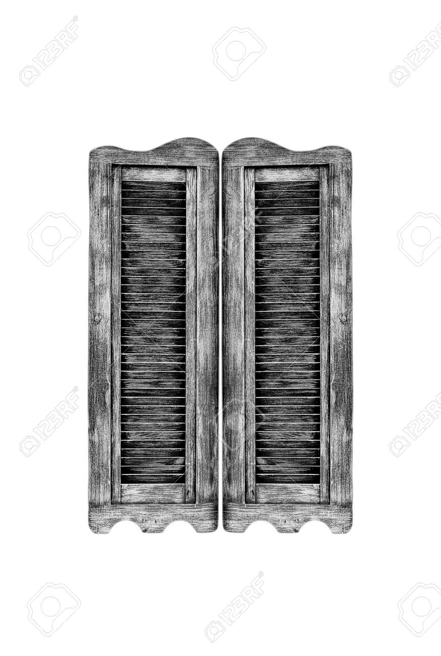 Attractive Old Wooden Western Swinging Saloon Doors Isolated On White Stock  IL92