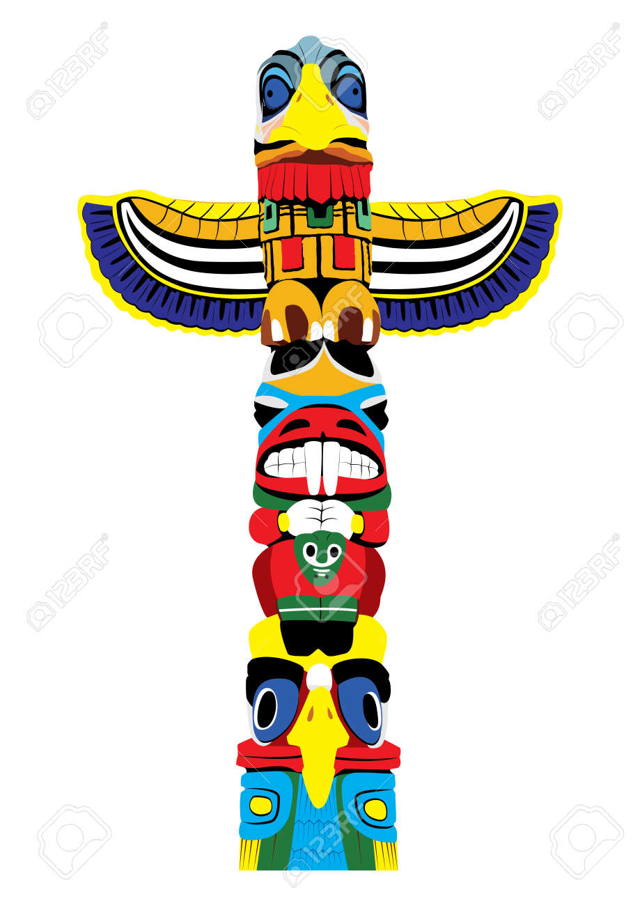 colorful totem pole isolated on white background vector royalty free rh 123rf com native american totem pole clipart hawaiian totem pole clipart