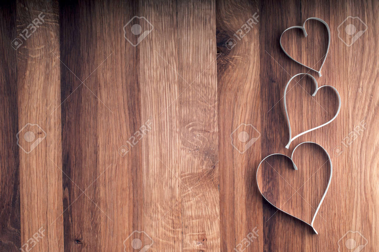 Valentine s day paper hearts on wooden background - 25819627