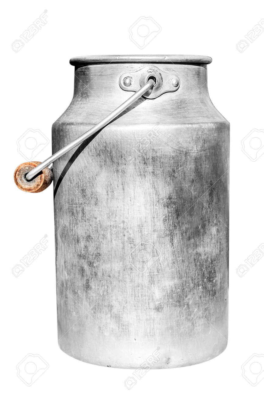 Old milk can isolated on white background - 28040424