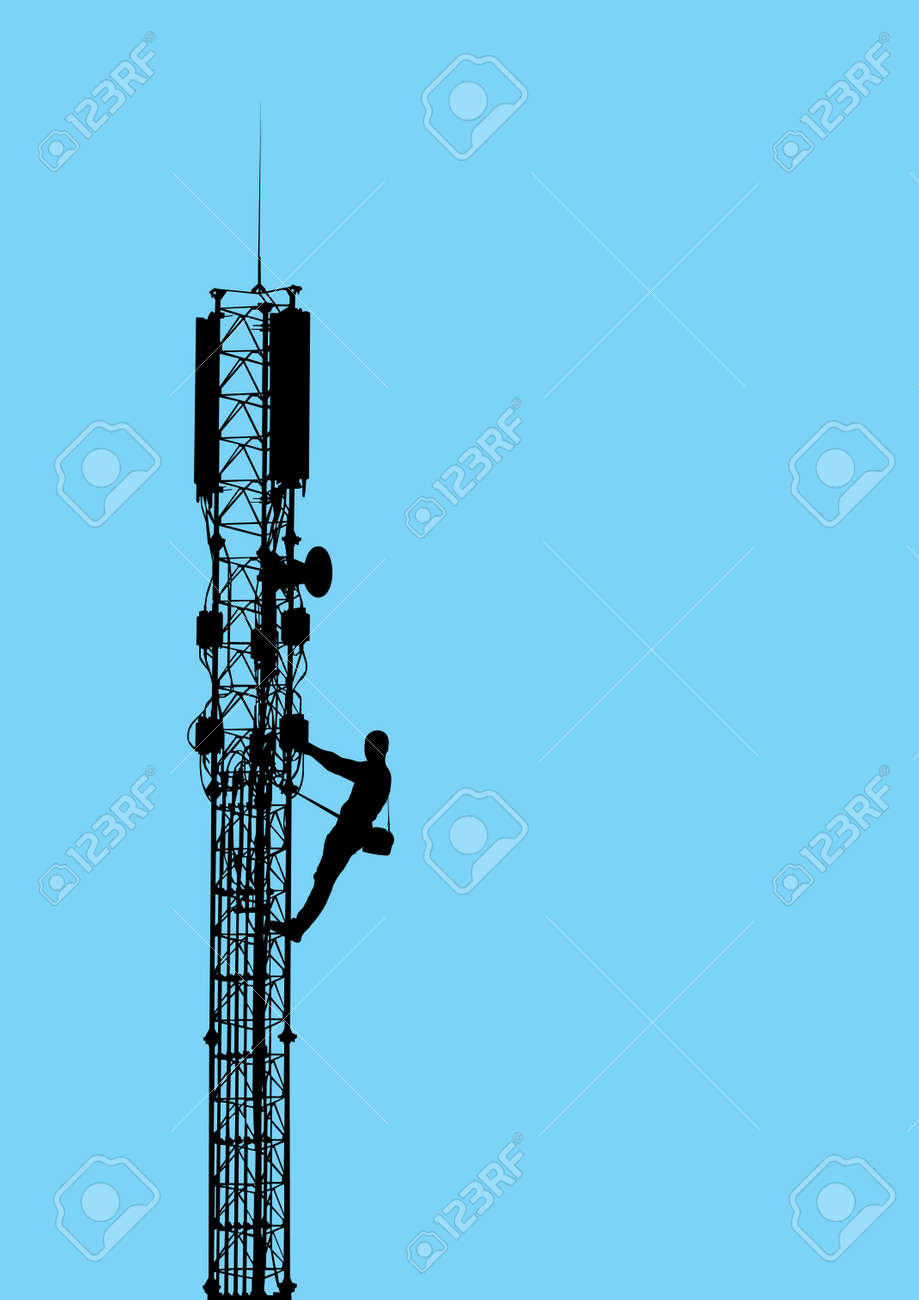 Silhouette of worker climbing on mobile telecommunication tower against blue sky Vector EPS10 - 29174275