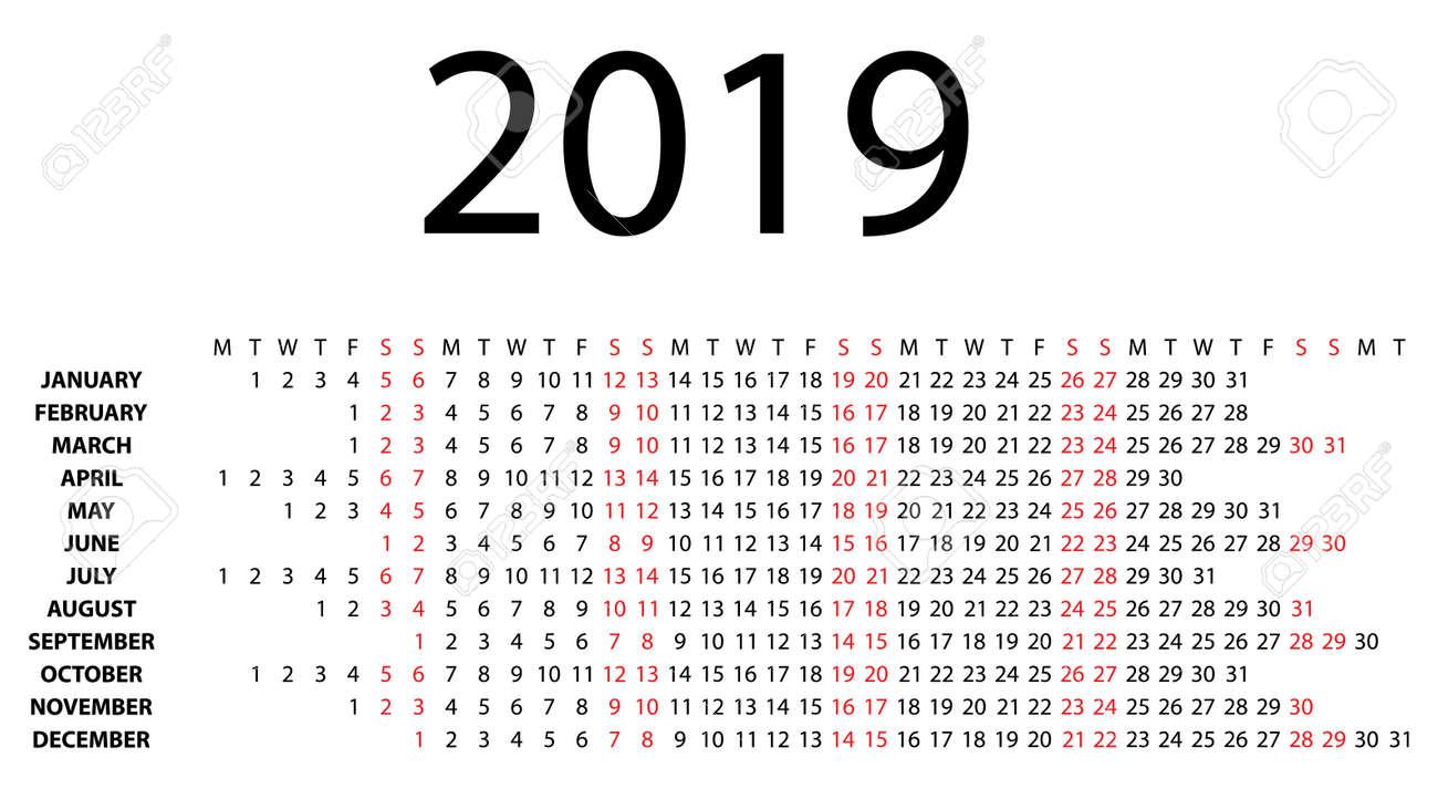 2019 Calendar Horizontal Horizontal Calendar For 2019 On White Background Vector EPS10