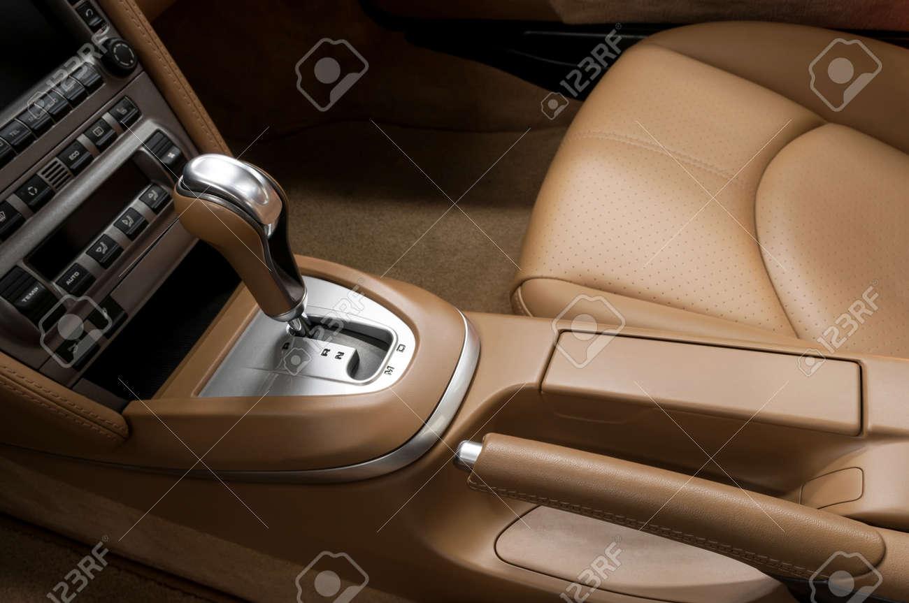 Detail interior of modern auto. Gear shift in car. - 32374055