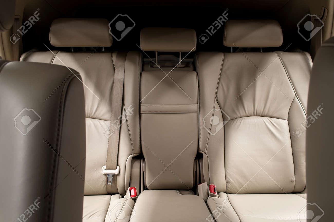 Rear leather seats. Car interior. - 33016149