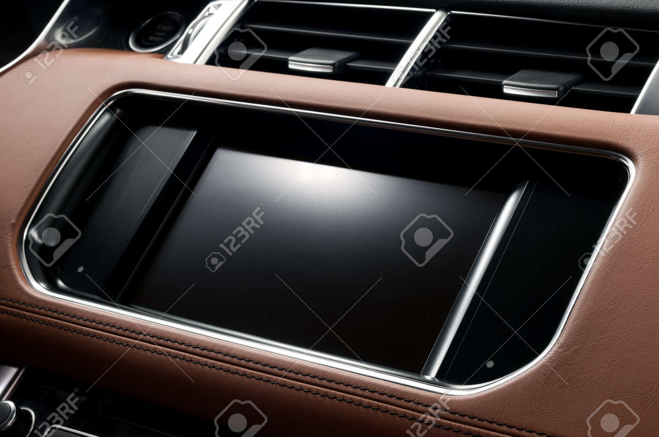 Panel of modern car. Touch screen multimedia system. Auto interior detail. - 34698619
