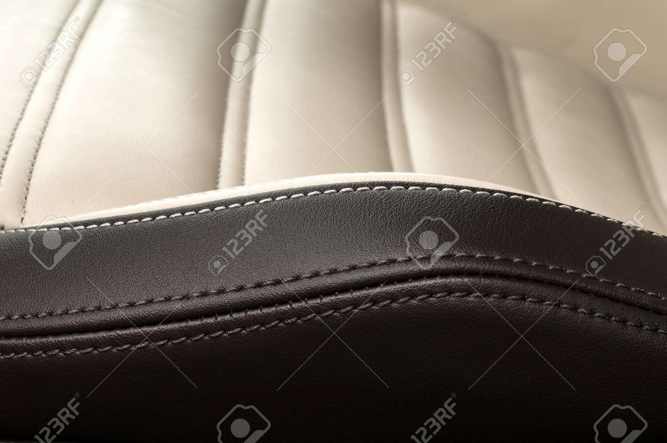 Detail of leather car seat. Horizontal photo. - 38507469