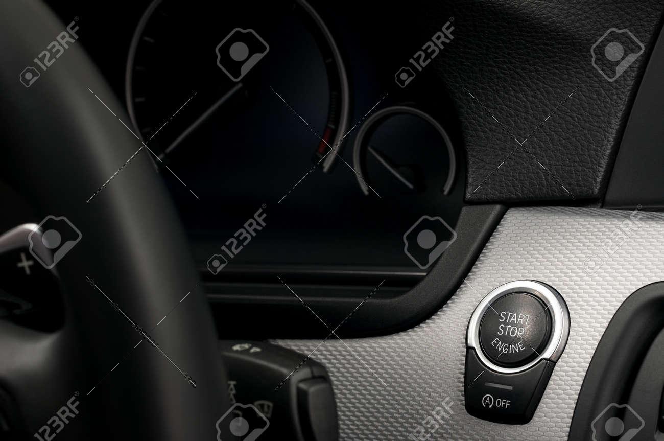 Modern car engine start and stop button. Interior detail. - 39366330