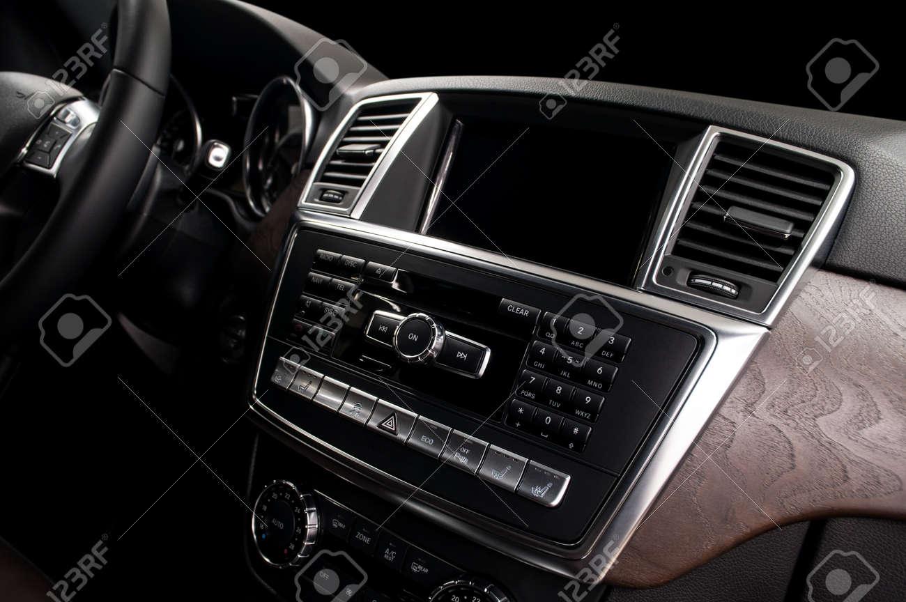 Screen multimedia system in Modern car dashboard. - 39630356