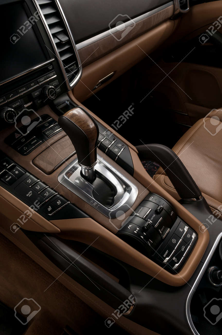 Luxury automatic car transmission control buttons and gear lever. Interior detail. - 43622754