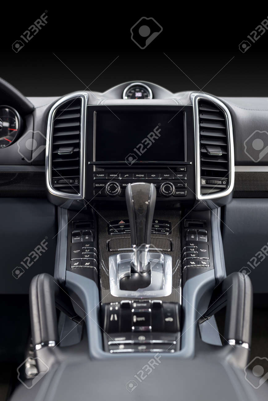 Luxury Car Dashboard Interior Detail Vertical Photo Stock Photo