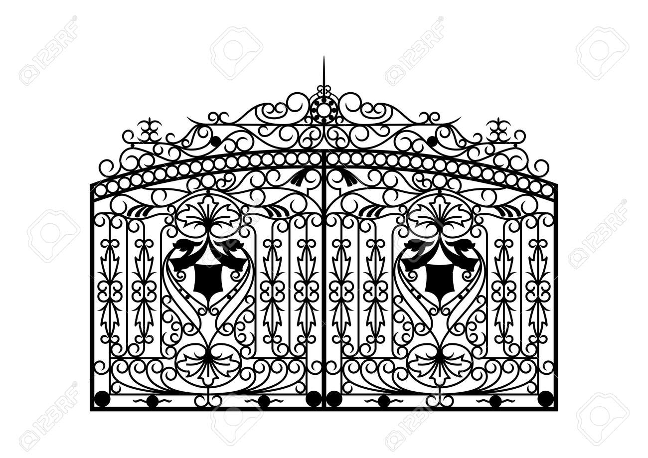 Forged gate. Architecture detail. Vector EPS10. - 84986848