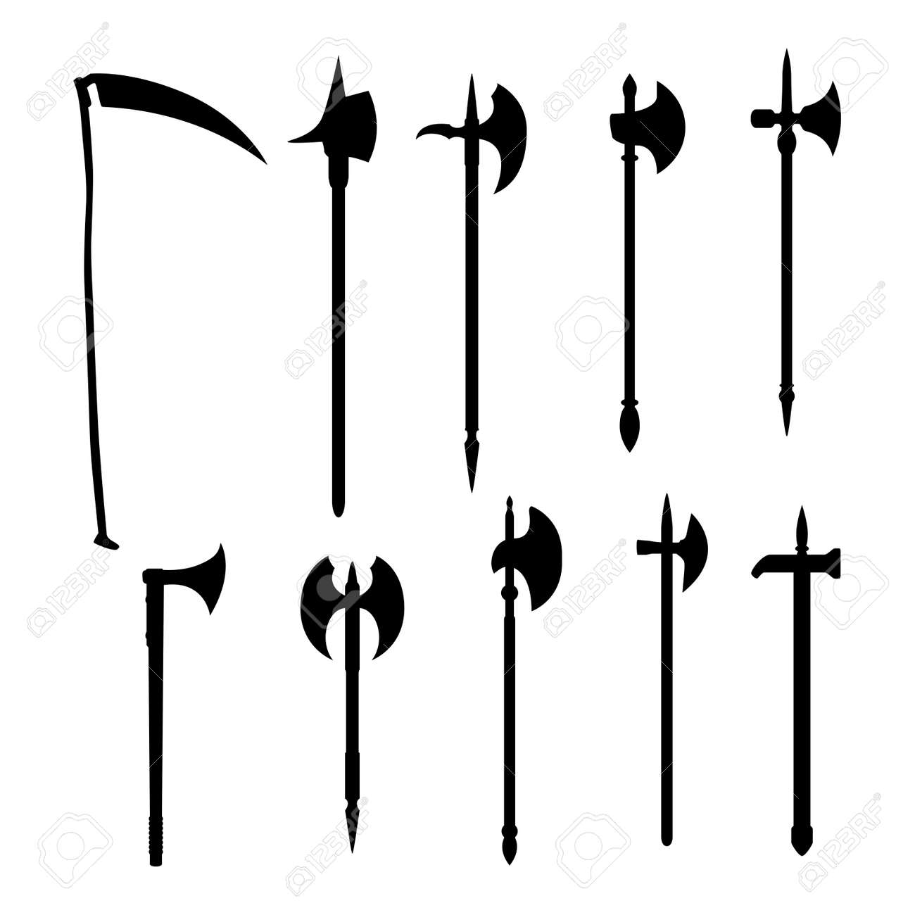 Medieval vector weapons set: battleaxe dark silhouette isolated on white background. - 144265925