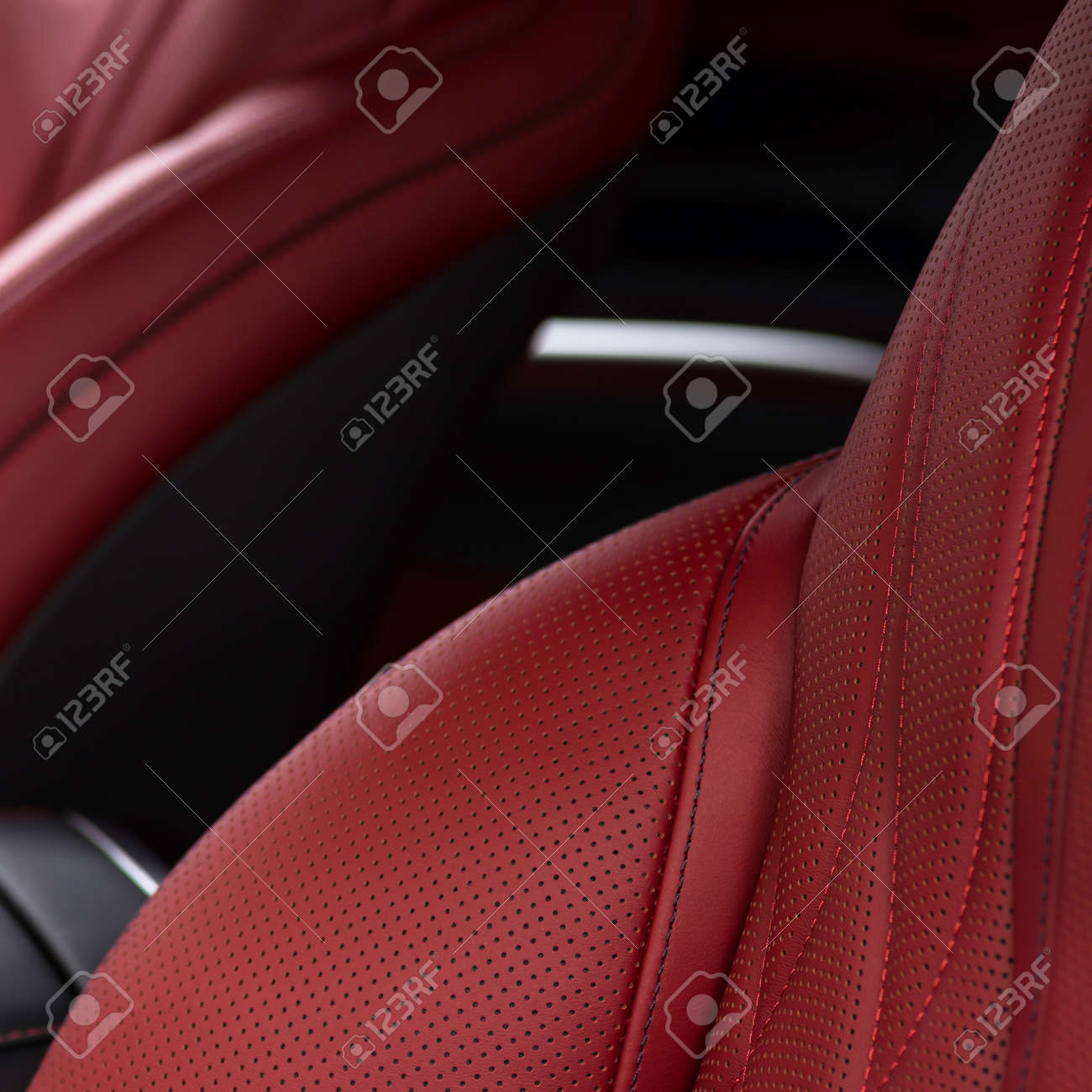 Leather material in modern car. Macro photo. - 167358706