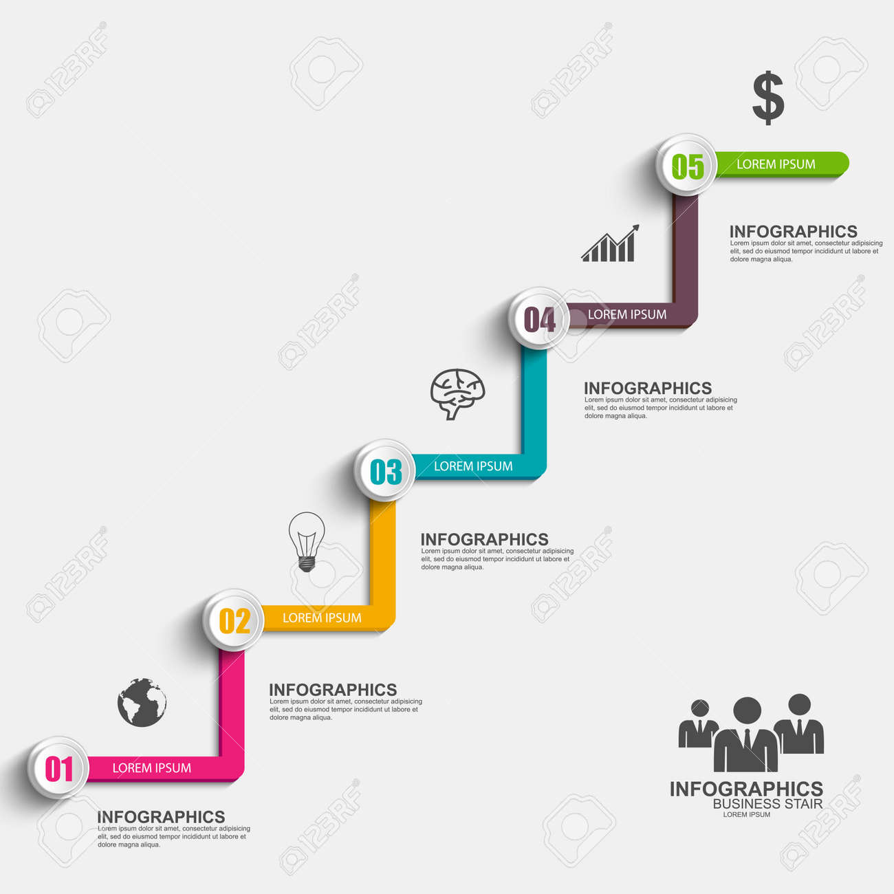 Infographics Business Stair Step Success Vector Design Template ...