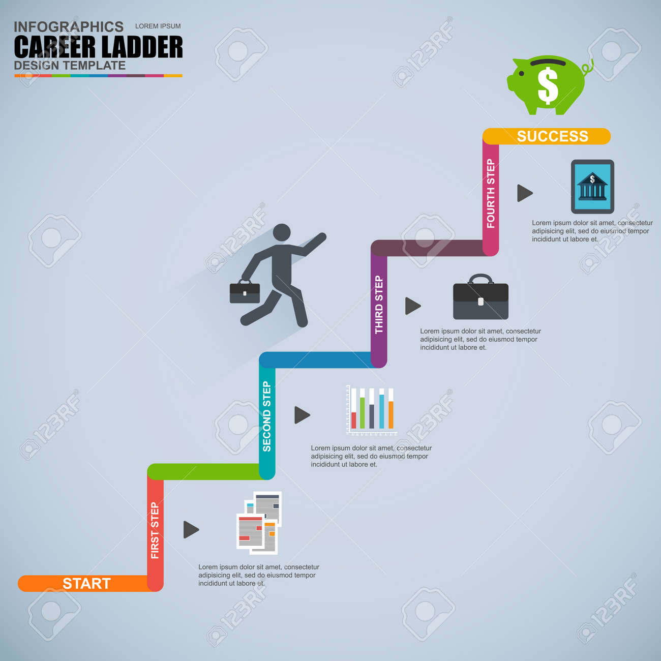 infographics business career ladder vector design template royalty