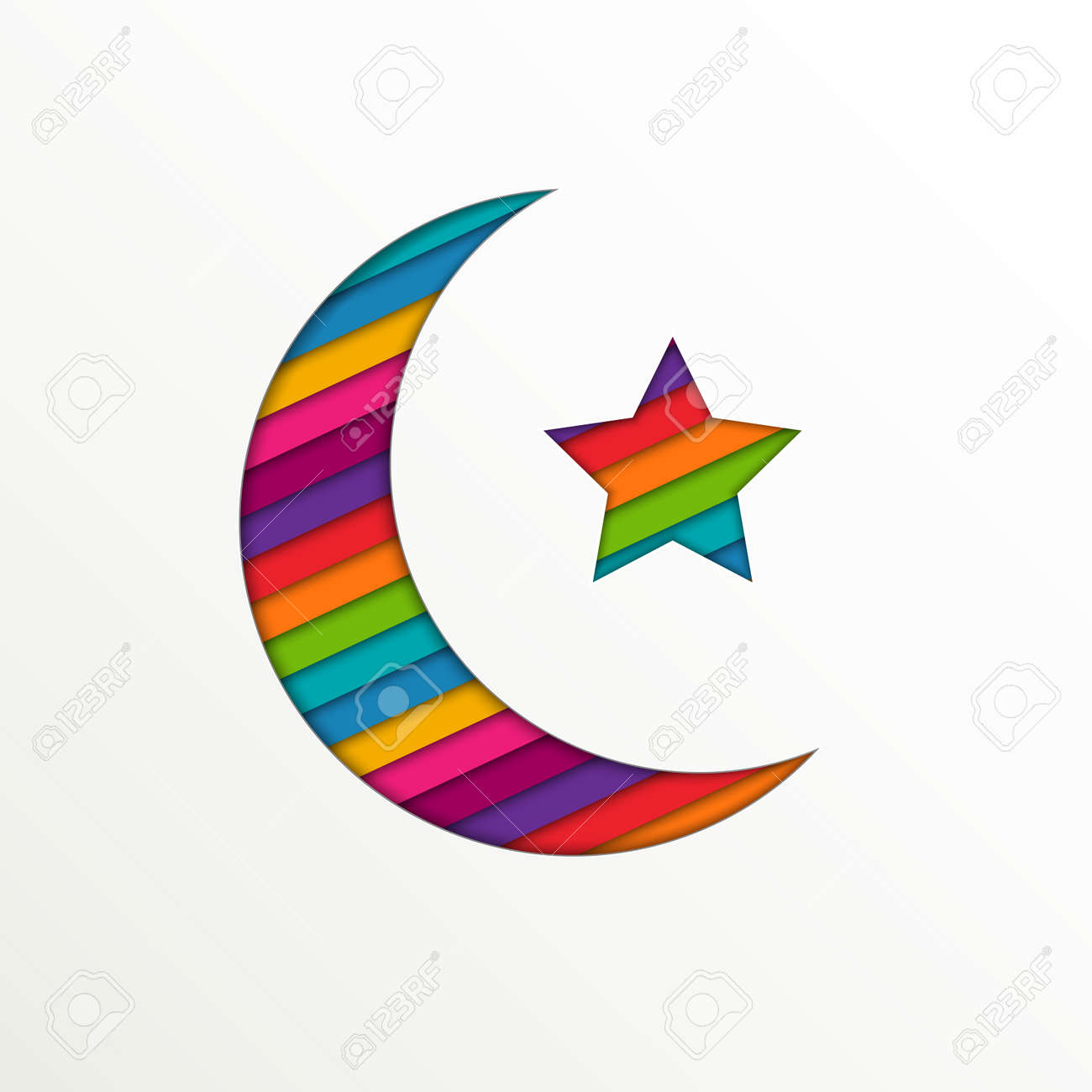 Colorful crescent moon and star on white background for holy colorful crescent moon and star on white background for holy month of muslim community ramadan kareem biocorpaavc Gallery