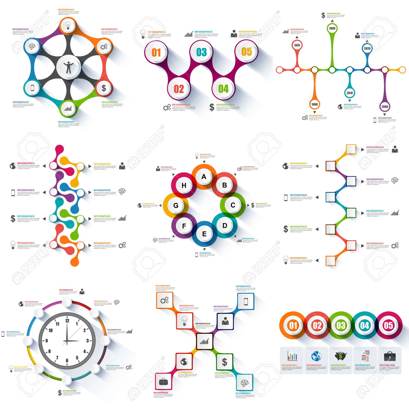 Set Of Infographics Vector Design Template Royalty Free Cliparts ...