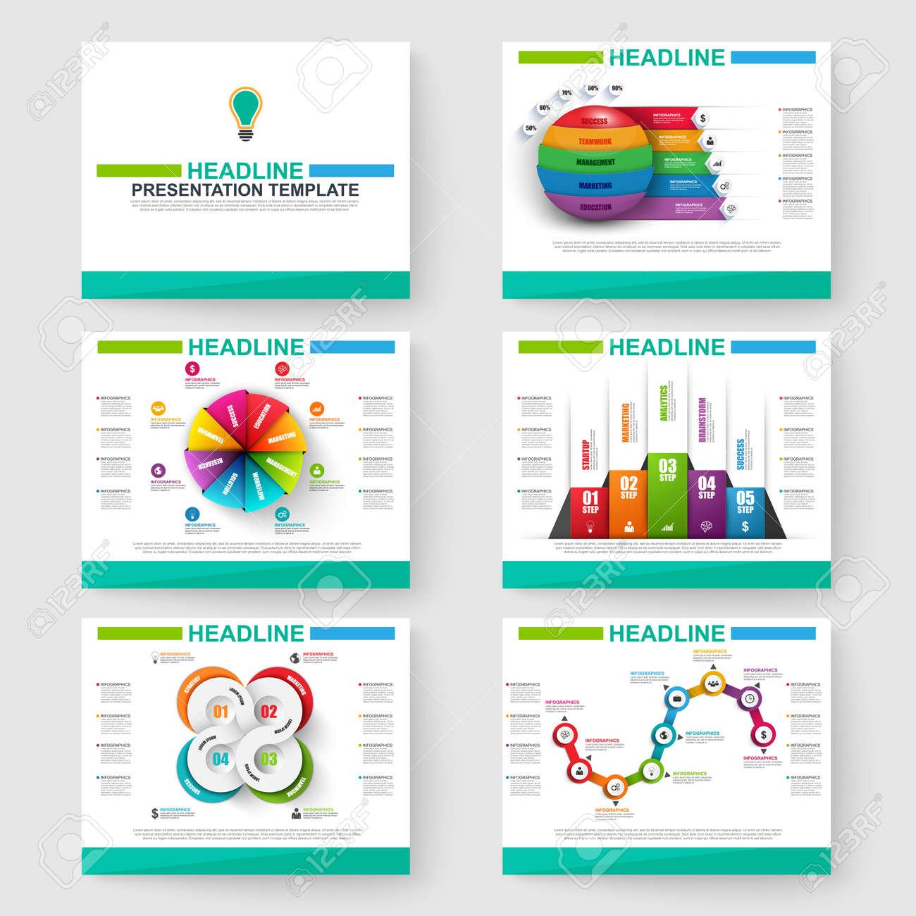 set of multipurpose presentation infographic for powerpoint royalty