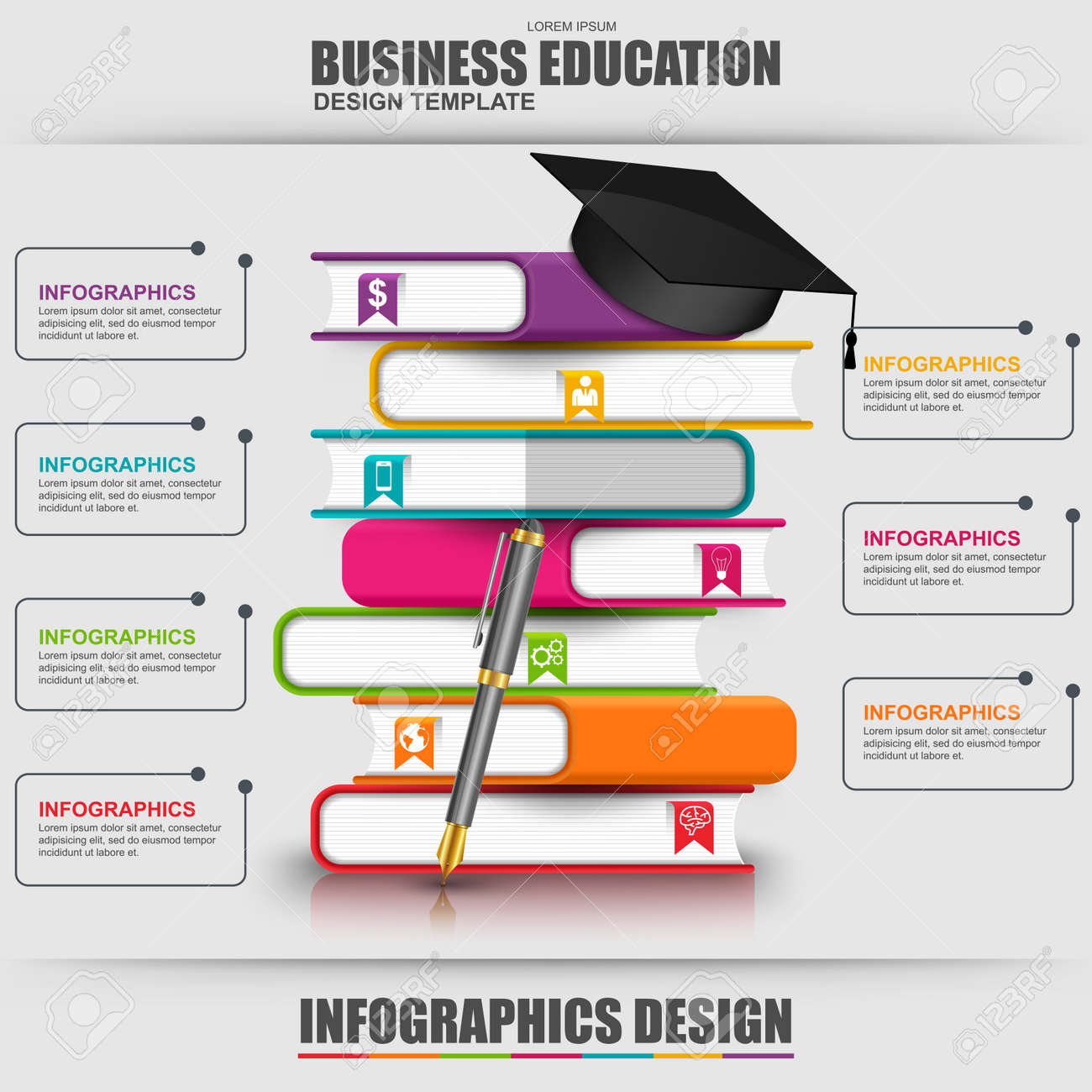 Books Step Education Infographic Vector Design Template. Can ...