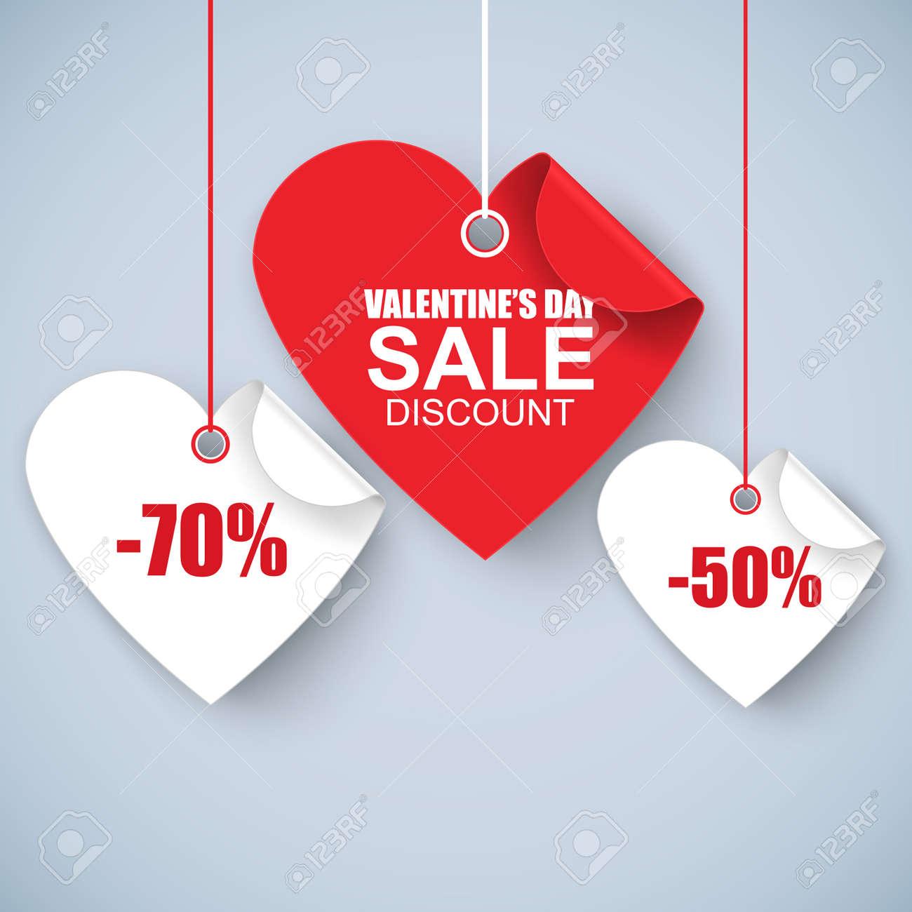Valentinstag Herz Verkauf Tag, Poster-Vorlage. Red Twisted Herz ...