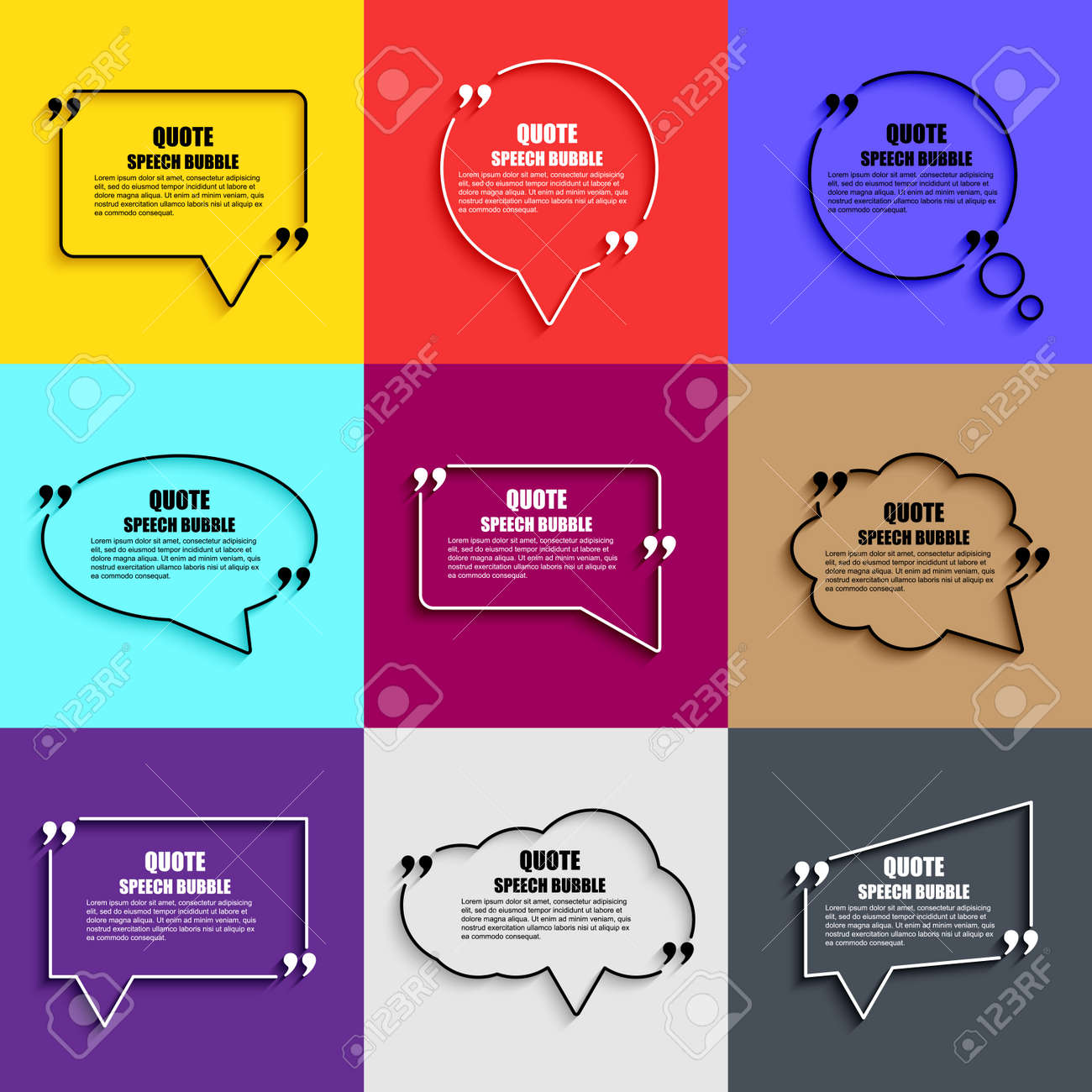 Quote Speech Bubble Vector Design Template. Circle Business Card ...