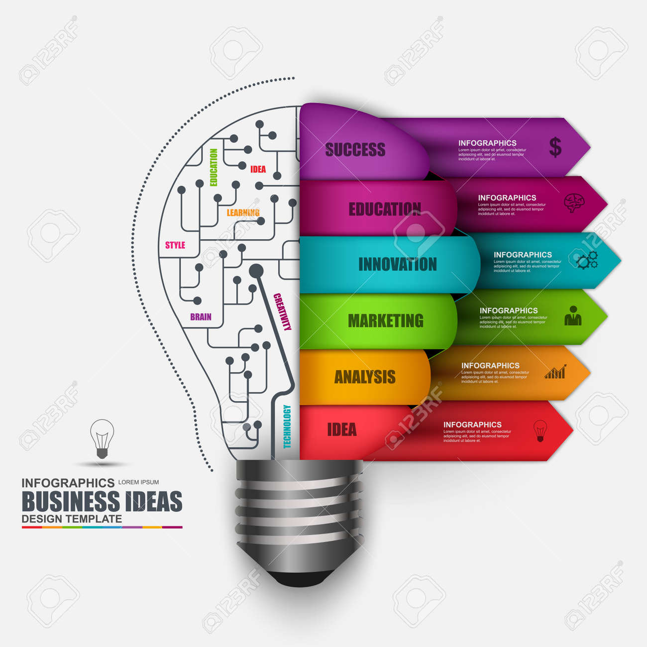 Infographic Business Light Bulb Vector Design Template Can Be Idea With For Creative Diagram Used Workflow Processes Startup