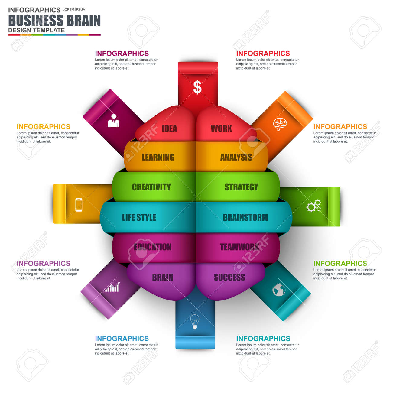 Infographic Business Brain Vector Design Template Can Be Used For Workflow Startup Successful