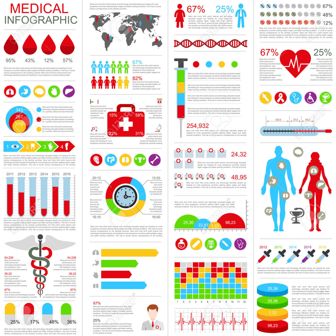 set of medical infographic design template can be used for healthcare services online support