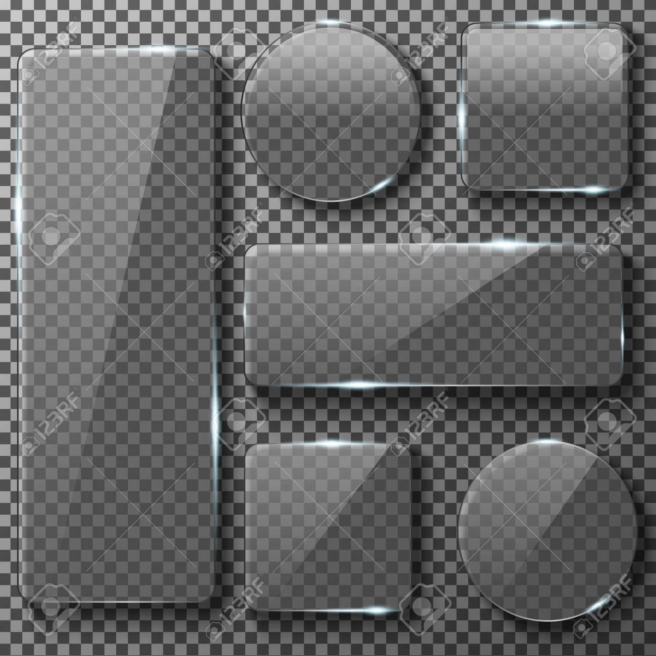 Transparent glass plates of different shapes. Square, circle, rectangular app buttons on checkered background. Blank empty, shiny and glossy. Vector illustration icons set. - 60000173