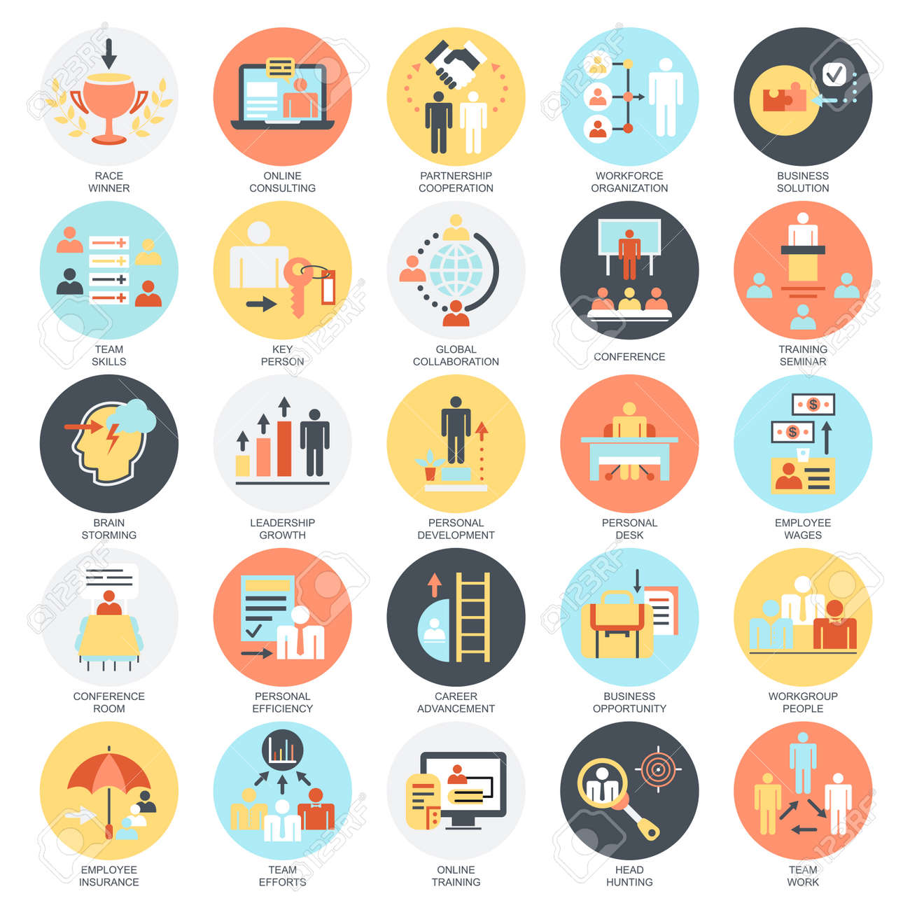 Flat conceptual icons set of corporate development, business leadership training and corporate career. Concepts for website and graphic design. Mobile and print media. Isolated on white background. - 60491474
