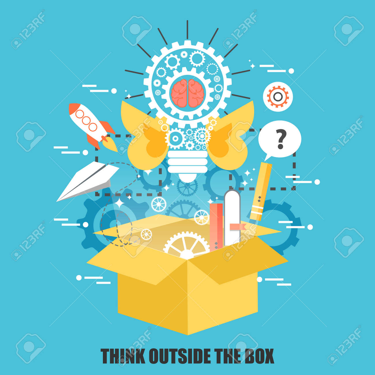 Flat concept of think outside the box, creative idea. Can be used for poster, banner, magazine, web design. Best solution for graphic designers. Vector illustration. - 62696647
