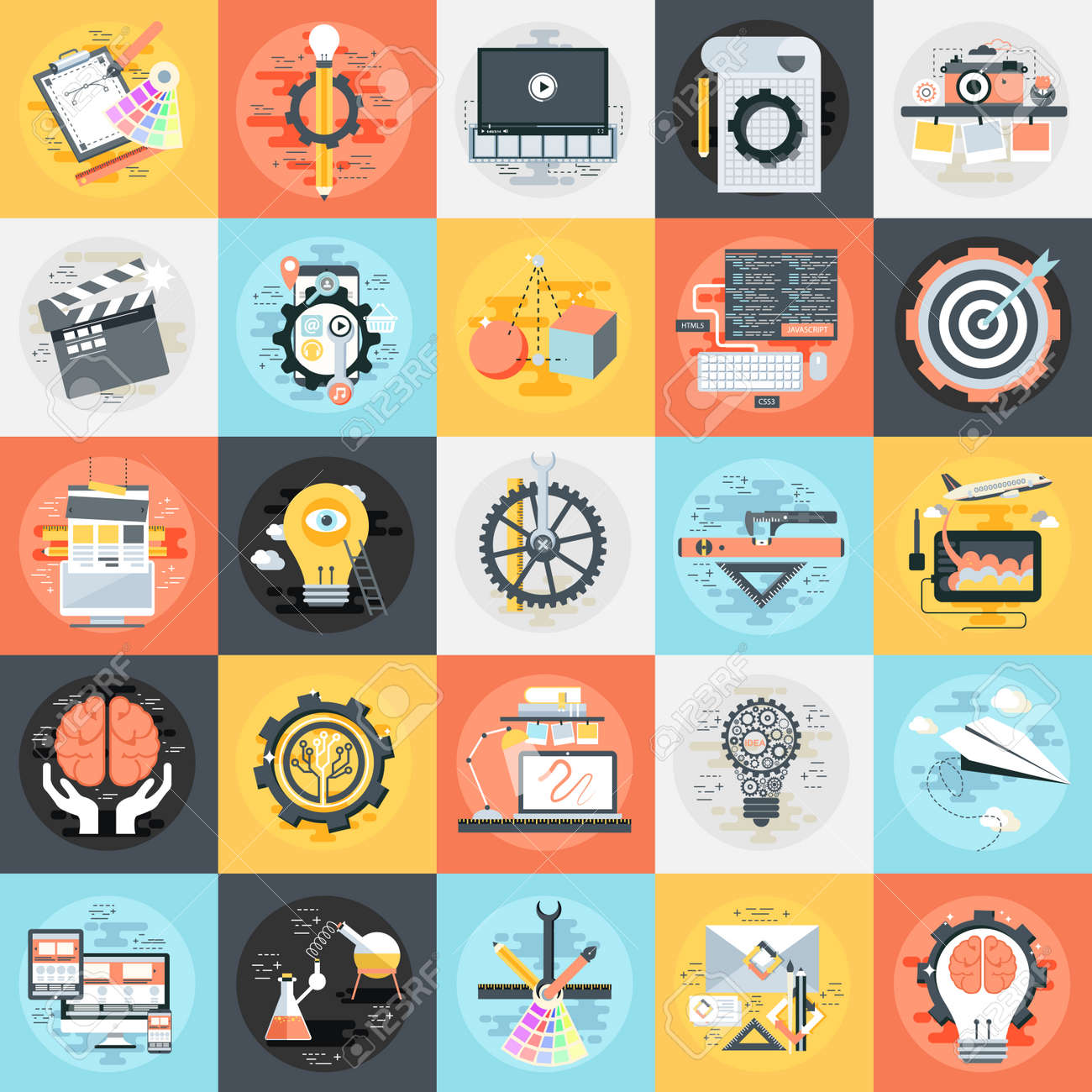 Flat conceptual icons set of creative process, design studio,