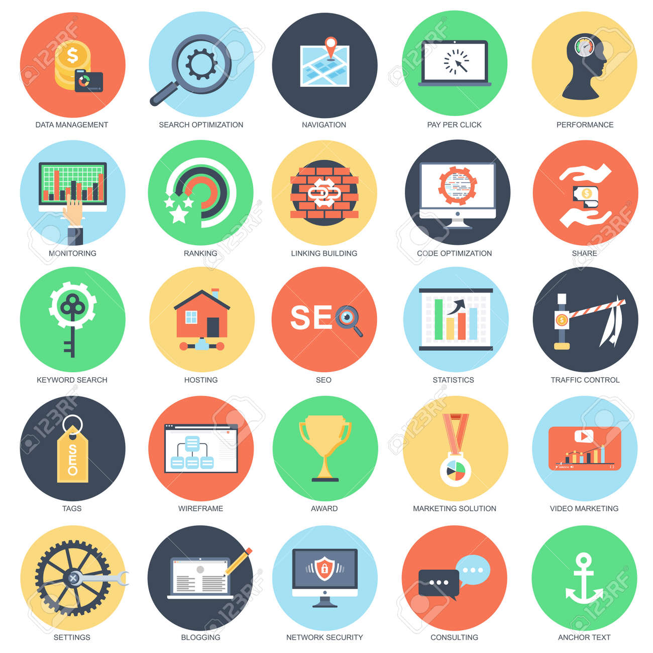 Flat conceptual icon set of search engine optimization tools