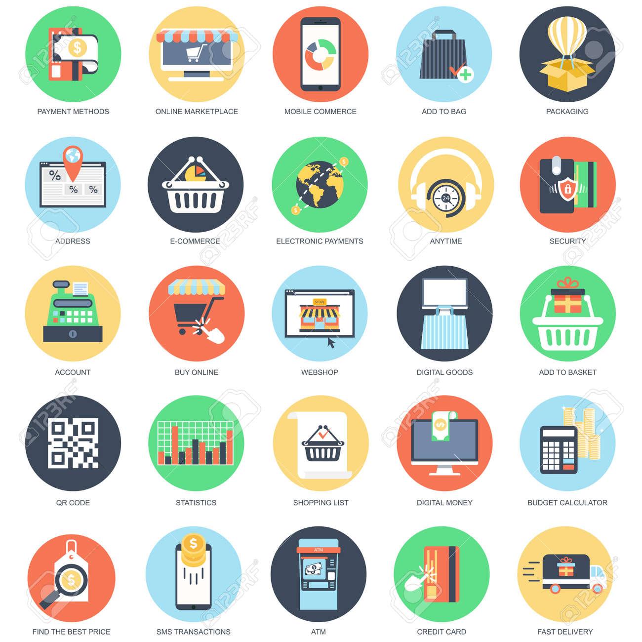 Flat conceptual icon set of e commerce internet shopping retail flat conceptual icon set of e commerce internet shopping retail store and online altavistaventures Images