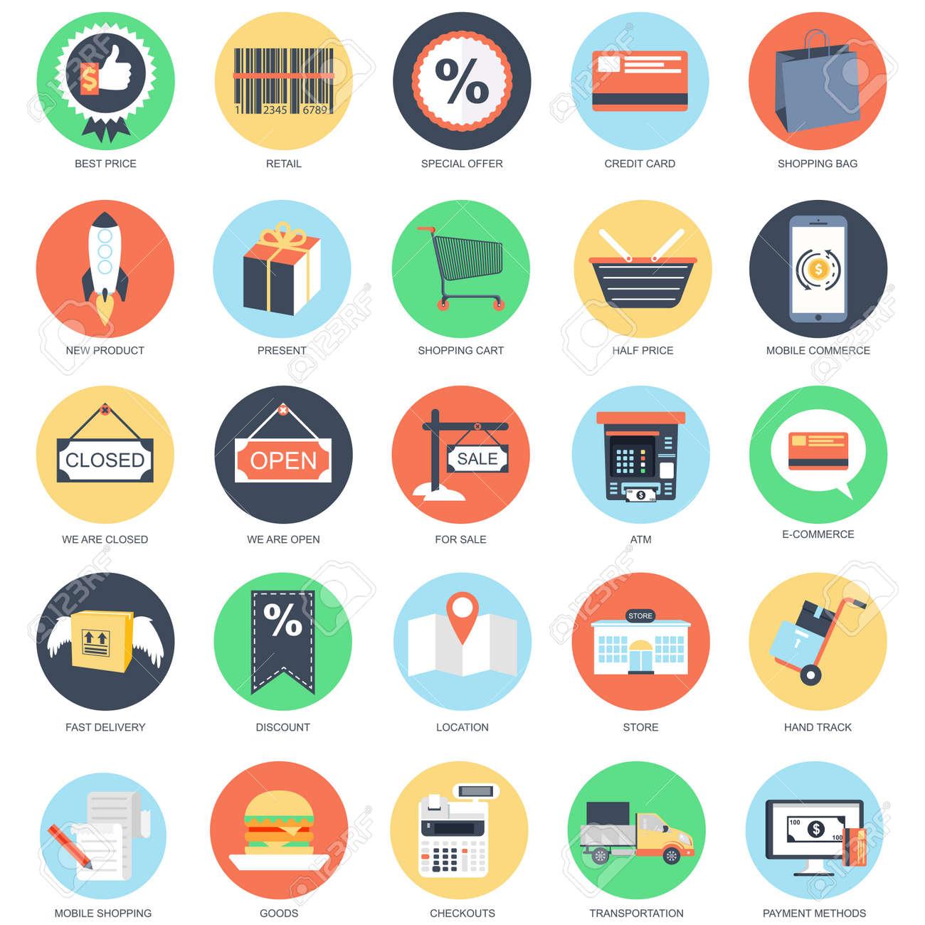 Flat conceptual icon set of e commerce internet shopping retail flat conceptual icon set of e commerce internet shopping retail store and online altavistaventures Image collections