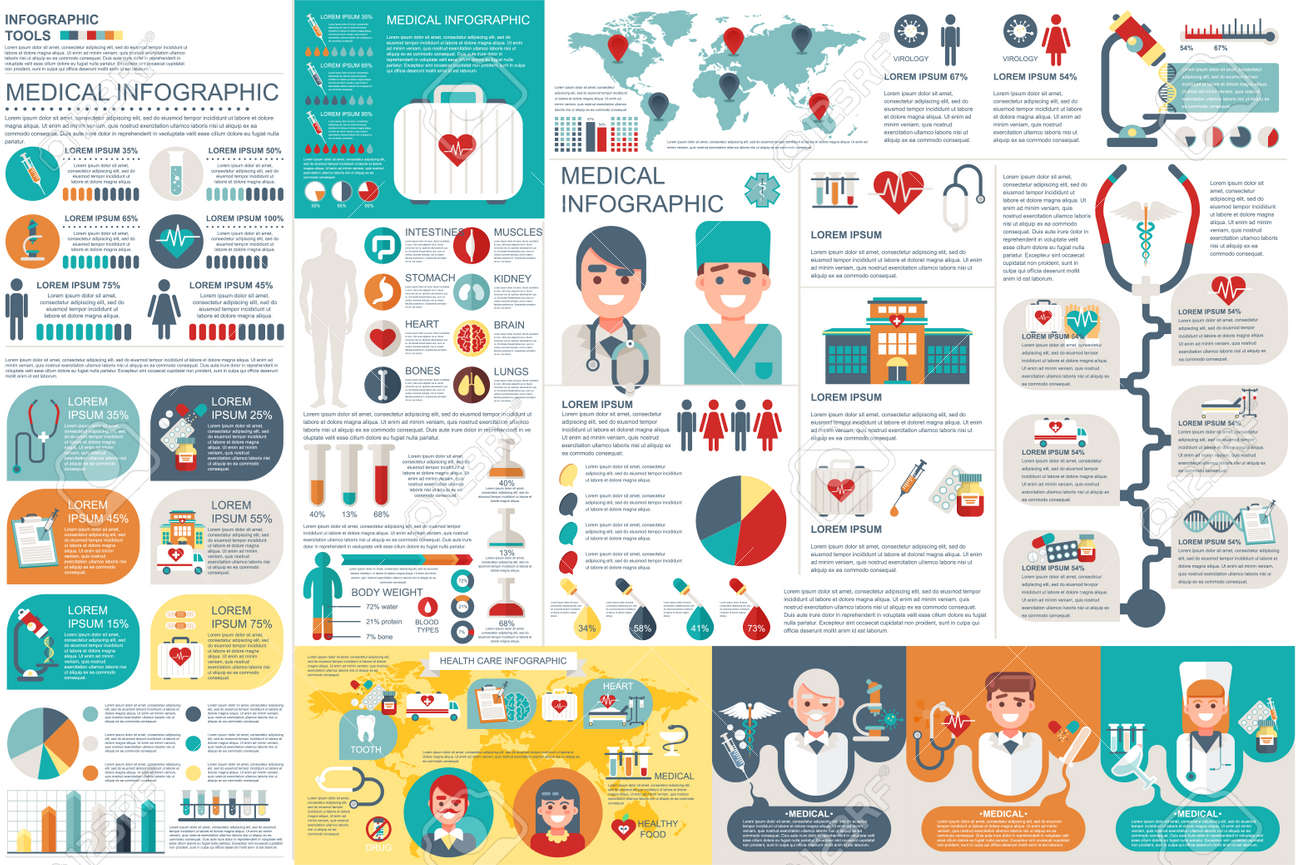 Medical infographic elements vector design template. Can be used for circle diagram, bar graph, pie chart, process diagram, timeline infographic, healthcare, research, set information infographics. - 67379770