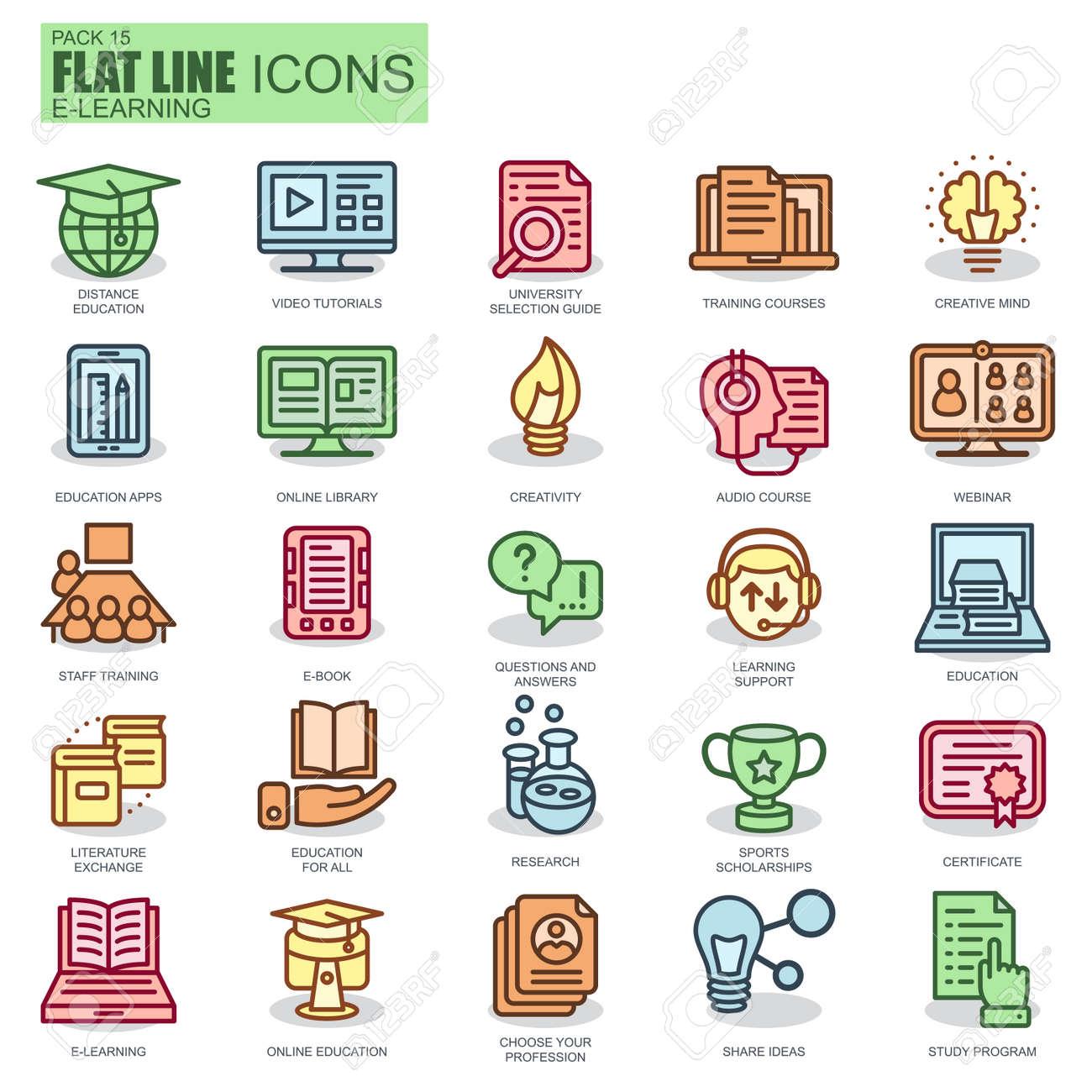 Dünne Linie Online-Bildung, E-Learning, E-Book Icons Für Website Und ...