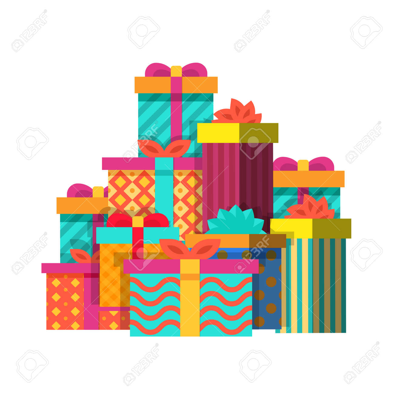 Big Pile Of Colorful Wrapped Christmas And Birthday Gift Boxes
