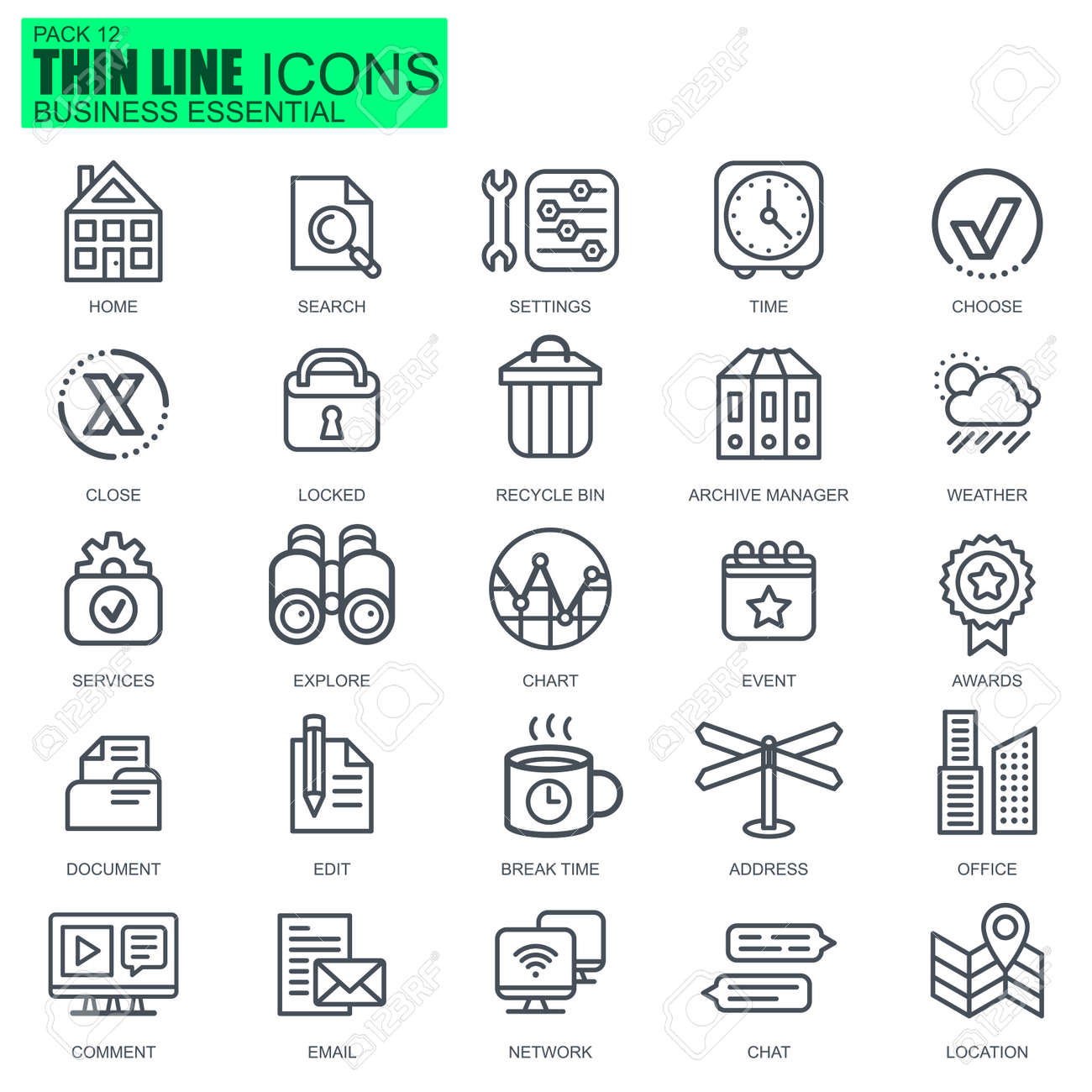 Thin line business essential, communication and office icons set for website and mobile site apps. Pixel Perfect. Editable Stroke. New style flat simple linear pictogram pack. Vector illustration. - 68822262