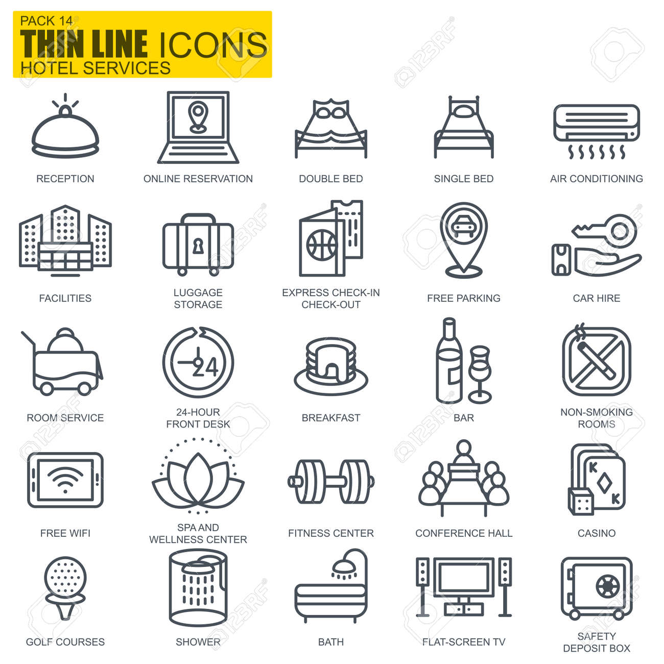 Thin line hotel services and facilities, online booking icons set for website and mobile site apps. Pixel Perfect. Editable Stroke. New style flat simple linear pictogram pack. Vector illustration. - 68822264
