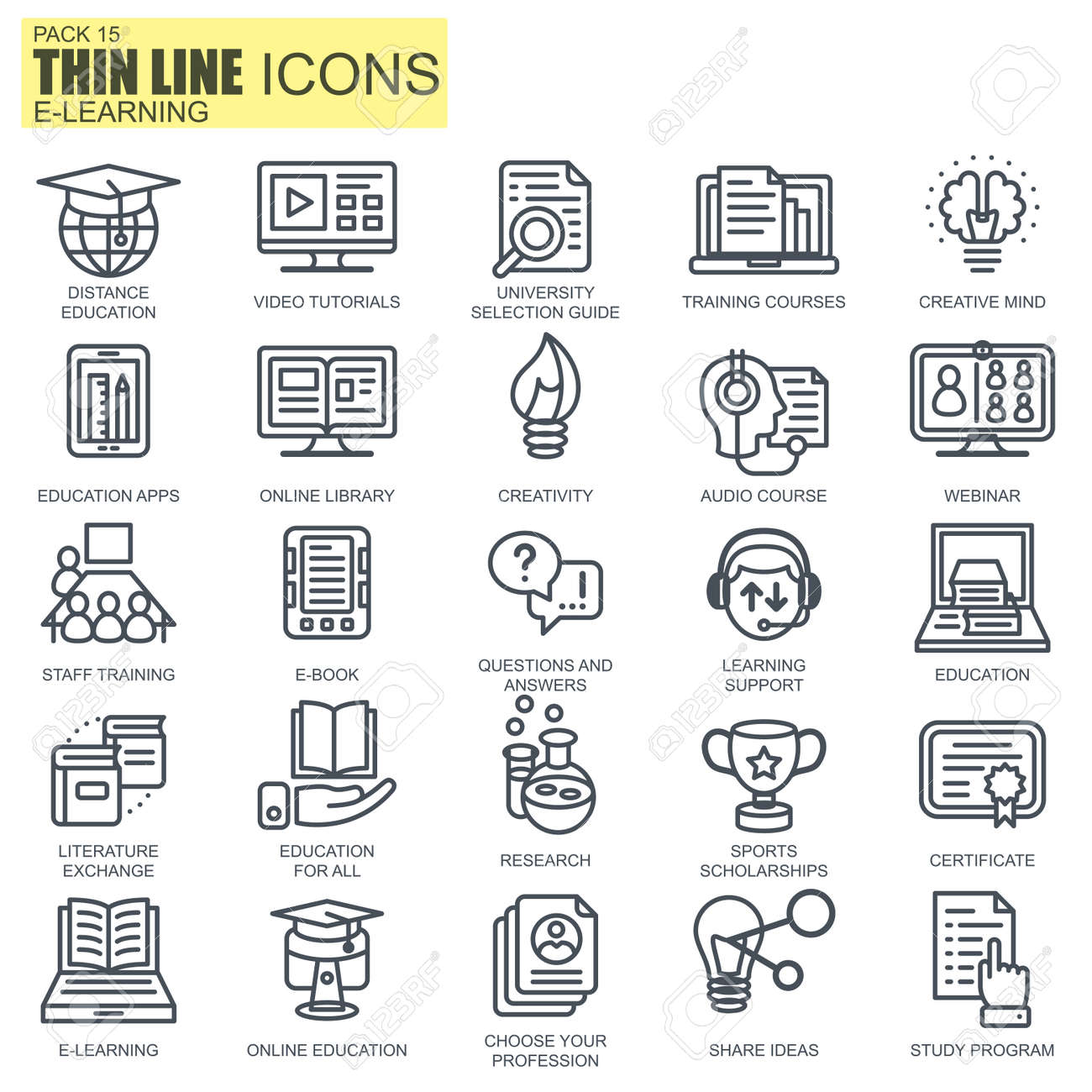Thin Line Online Education E Learning E Book Icons Set For
