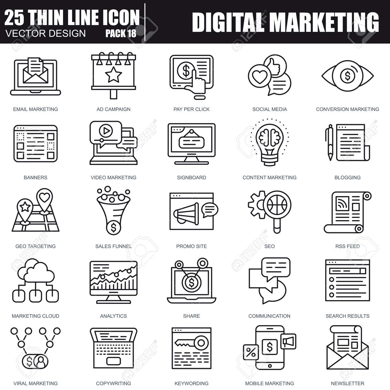 Thin line digital marketing icons set for website and mobile site and apps. Pixel Perfect. Editable Stroke. Simple linear pictogram pack. Vector illustration. - 71926941