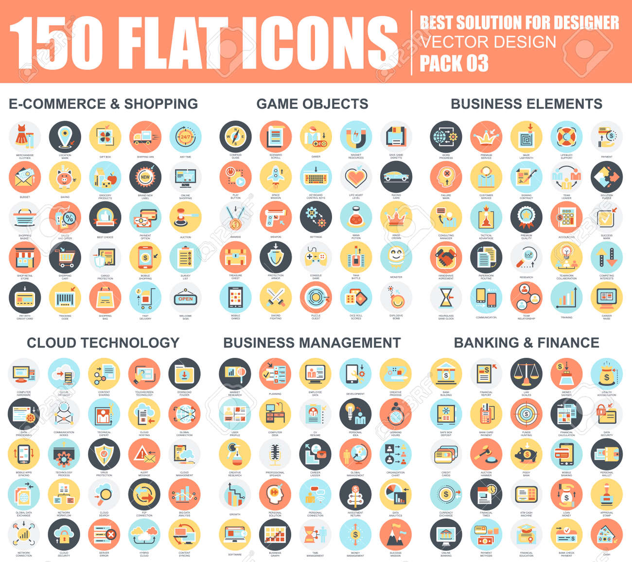 Flat e-commerce and shopping, business elements, cloud technology, management, banking and finance icons set for website and mobile site and apps. Simple pictogram pack. Vector illustration. - 72326087