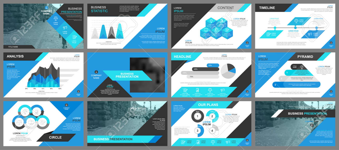 Blue presentation slides templates from info graphic elements - 86145390
