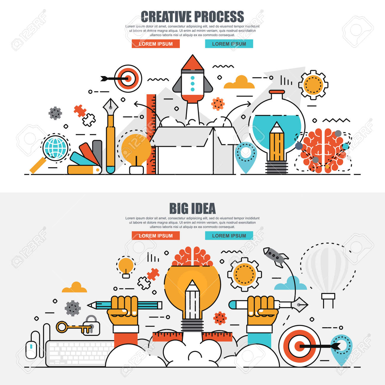 Business Flat Line Concept Web Banner Of Creative Process And ...