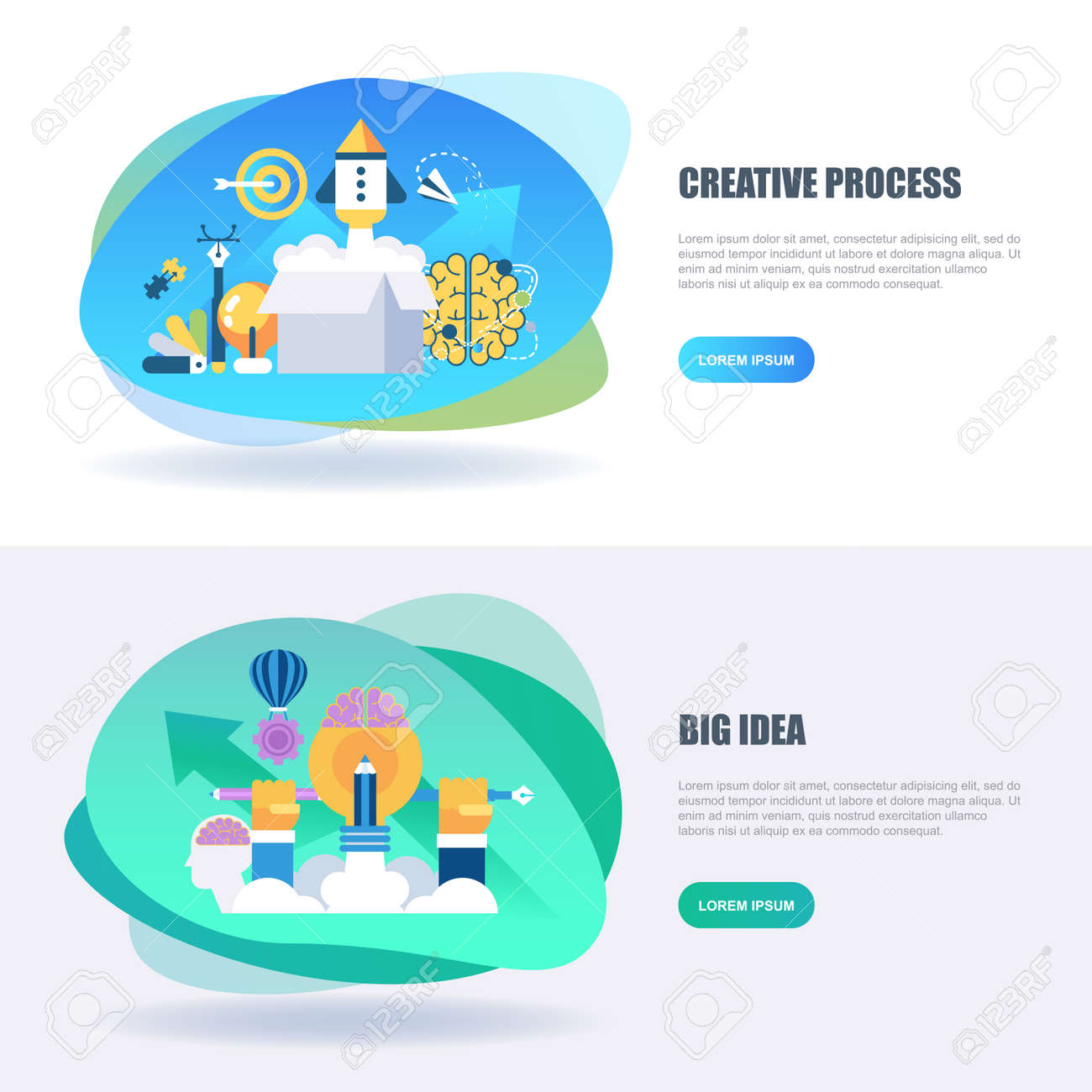 Flat Concept Web Banner Of Creative Process And Project Workflow ...