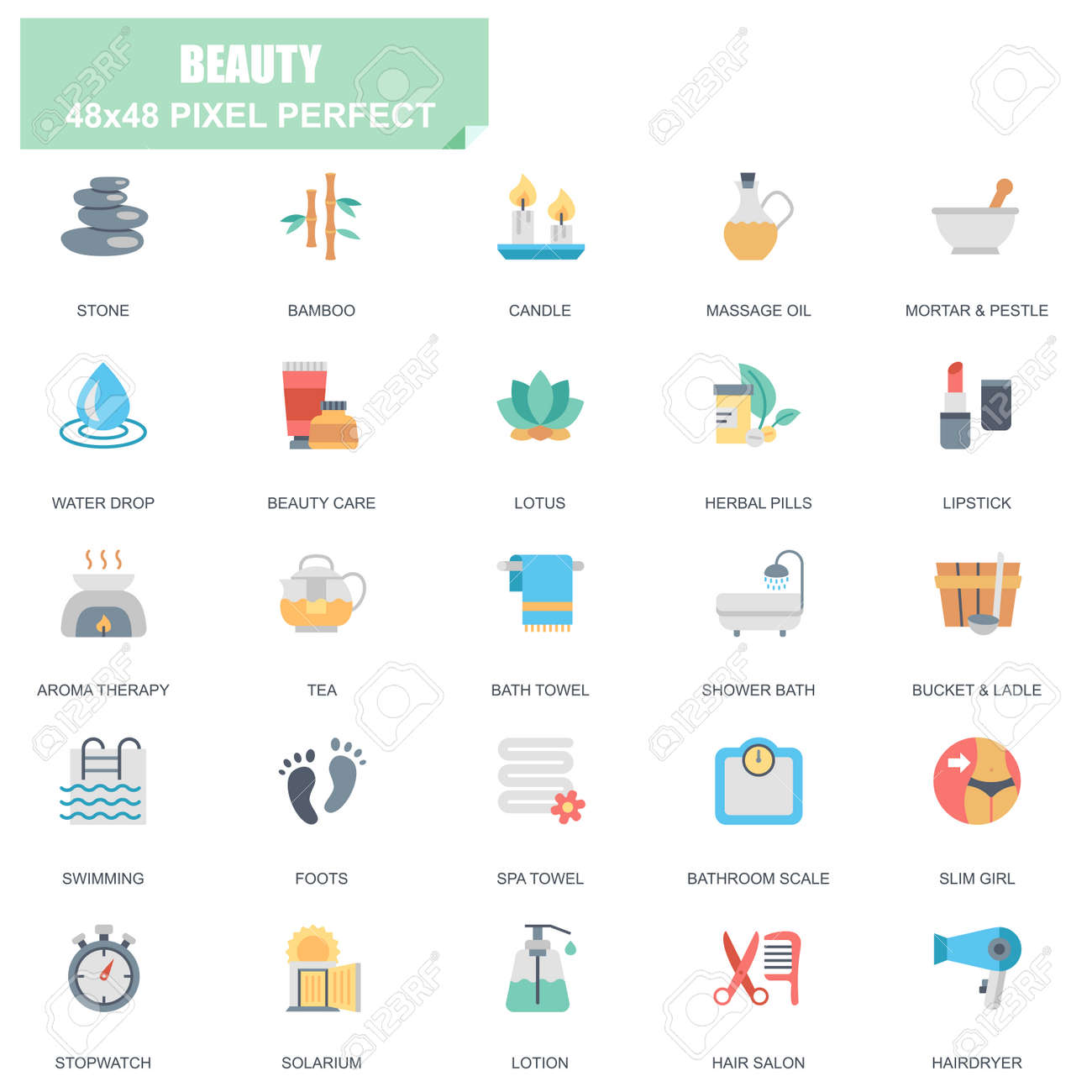Simple set of spa and beauty related vector flat icons  Contains