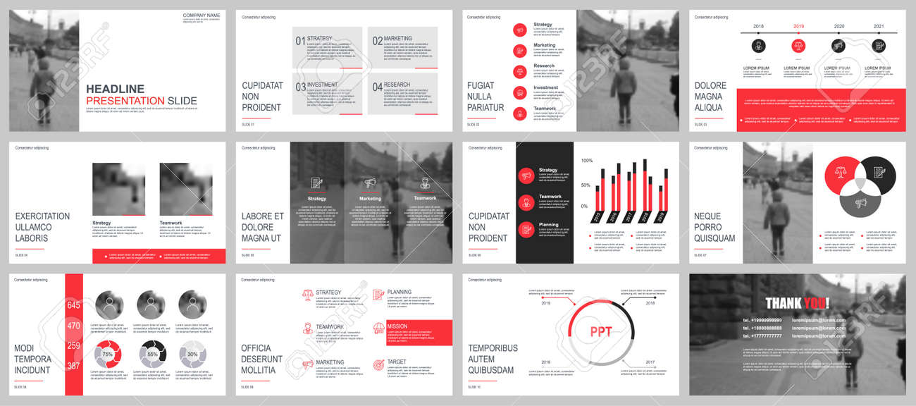 Business presentation slides templates from infographic elements. Can be used for presentation, flyer and leaflet, brochure, corporate report, marketing, advertising, annual report, banner, booklet. - 99087607