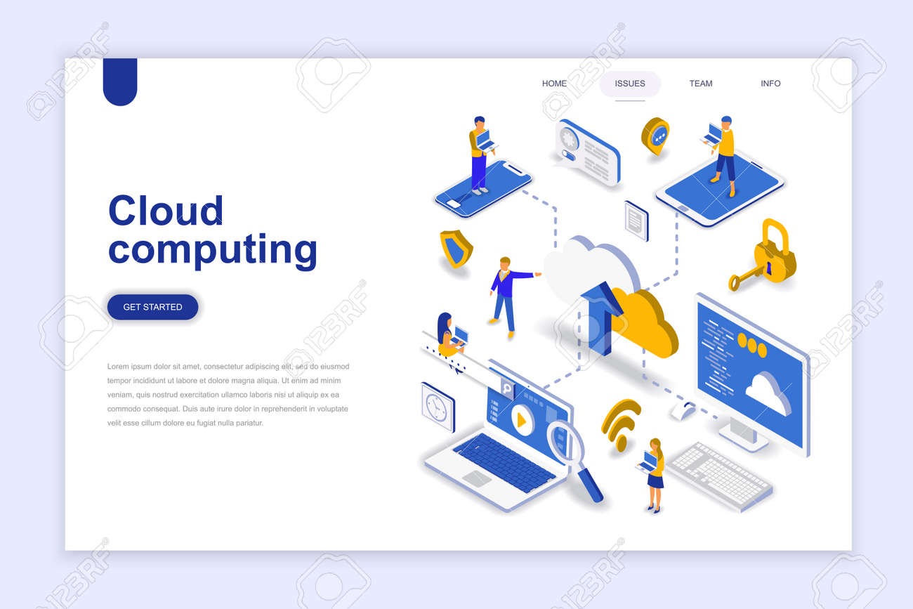 Cloud computing modern flat design isometric concept. Business technology and people concept. Landing page template. Conceptual isometric vector illustration for web and graphic design. - 107372761